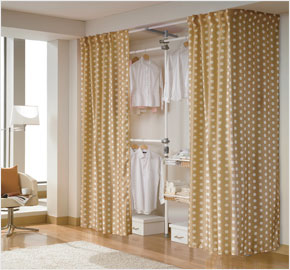 Three-level basket curtain with beige dots (LS-3392)