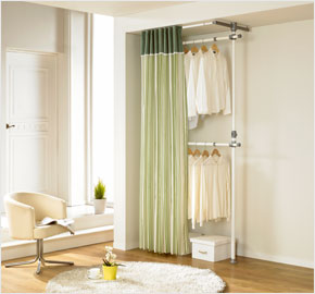 covered clothes rack wheels twolevel curtain clothes rack with khaki stripes ls3217 diy home closet furniture by livingstar